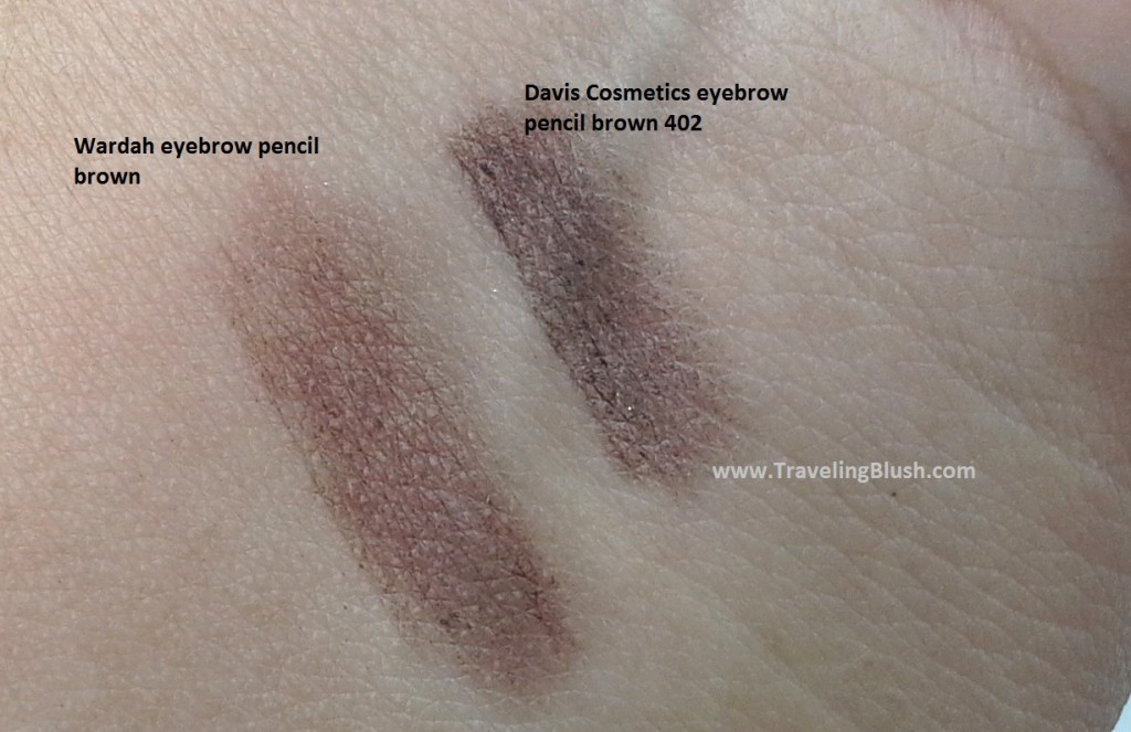 Swatches of Davis Cosmetics eyebrow pencil in shade 'brown' 402 (right) and Wardah Cosmetics eyebrow pencil in shade 'brown' (left)
