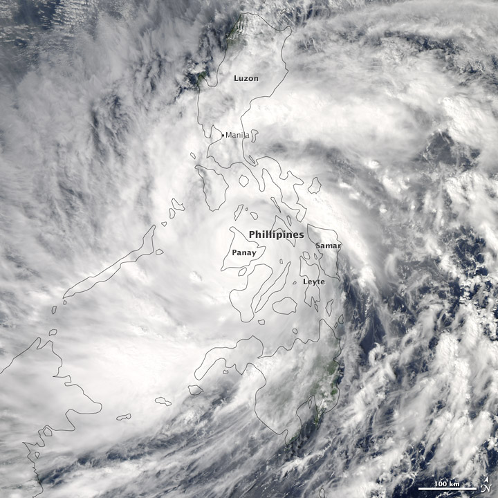 Super Typhoon Haiyan  (Source: Earth Observatory, NASA)