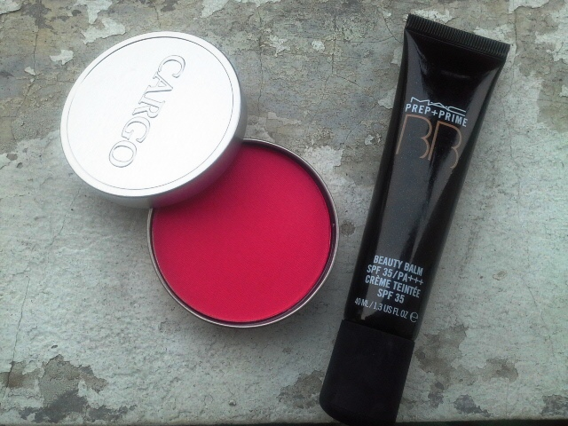 Cargo Key Largo powder blush and MAC Prep+Prime BB Cream