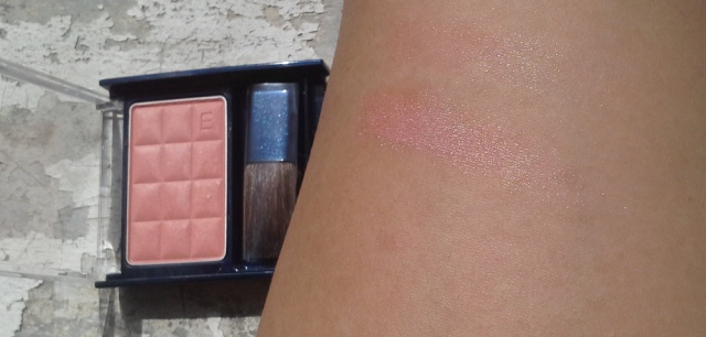 Kanebo Media Blush OR-1, swatched heavily on the bottom and blended out at top.